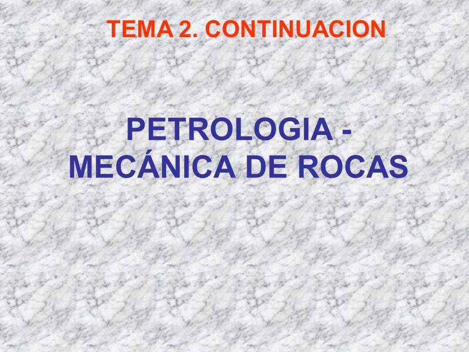 PETROLOGIA - MECÁNICA DE ROCAS TEMA 2. CONTINUACION