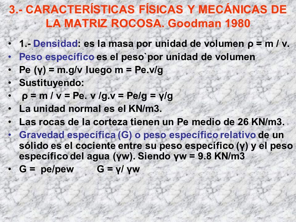 3.- CARACTERÍSTICAS FÍSICAS Y MECÁNICAS DE LA MATRIZ ROCOSA. Goodman 1980 1.- Densidad: es la masa por unidad de volumen ρ = m / v. Peso específico es