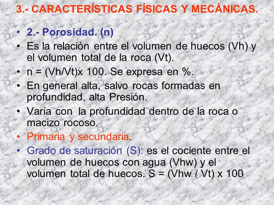 3.- CARACTERÍSTICAS FÍSICAS Y MECÁNICAS. 2.- Porosidad. (n) Es la relación entre el volumen de huecos (Vh) y el volumen total de la roca (Vt). n = (Vh