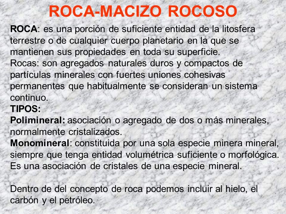ROCA-MACIZO ROCOSO ROCA: es una porción de suficiente entidad de la litosfera terrestre o de cualquier cuerpo planetario en la que se mantienen sus pr