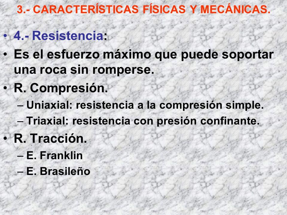 3.- CARACTERÍSTICAS FÍSICAS Y MECÁNICAS. 4.- Resistencia: Es el esfuerzo máximo que puede soportar una roca sin romperse. R. Compresión. –Uniaxial: re
