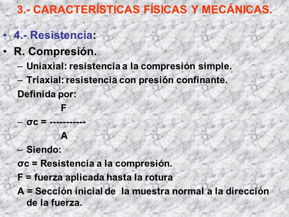 3.- CARACTERÍSTICAS FÍSICAS Y MECÁNICAS. 4.- Resistencia: R. Compresión. –Uniaxial: resistencia a la compresión simple. –Triaxial: resistencia con pre