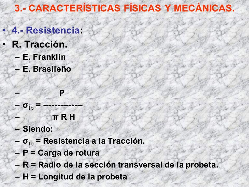 3.- CARACTERÍSTICAS FÍSICAS Y MECÁNICAS. 4.- Resistencia: R. Tracción. –E. Franklin –E. Brasileño – P –σ tb = -------------- –π R H –Siendo: –σ tb = R