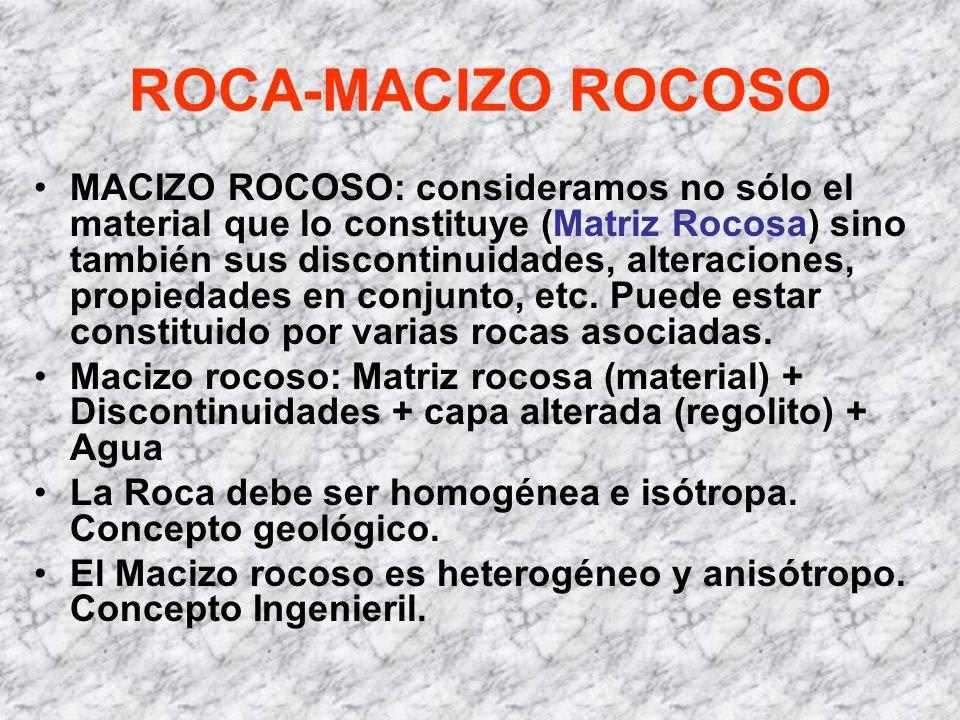 ROCA-MACIZO ROCOSO MACIZO ROCOSO: consideramos no sólo el material que lo constituye (Matriz Rocosa) sino también sus discontinuidades, alteraciones,