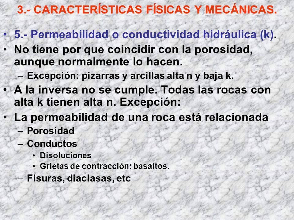 3.- CARACTERÍSTICAS FÍSICAS Y MECÁNICAS. 5.- Permeabilidad o conductividad hidráulica (k). No tiene por que coincidir con la porosidad, aunque normalm