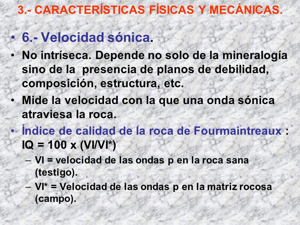 3.- CARACTERÍSTICAS FÍSICAS Y MECÁNICAS. 6.- Velocidad sónica. No intríseca. Depende no solo de la mineralogía sino de la presencia de planos de debil