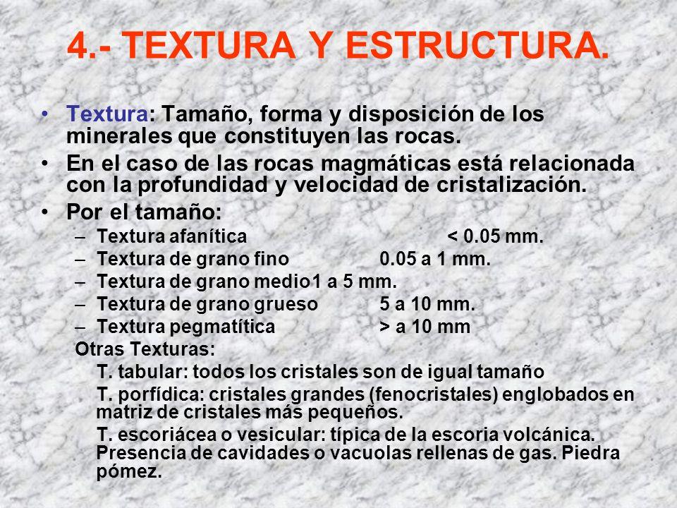 4.- TEXTURA Y ESTRUCTURA. Textura: Tamaño, forma y disposición de los minerales que constituyen las rocas. En el caso de las rocas magmáticas está rel