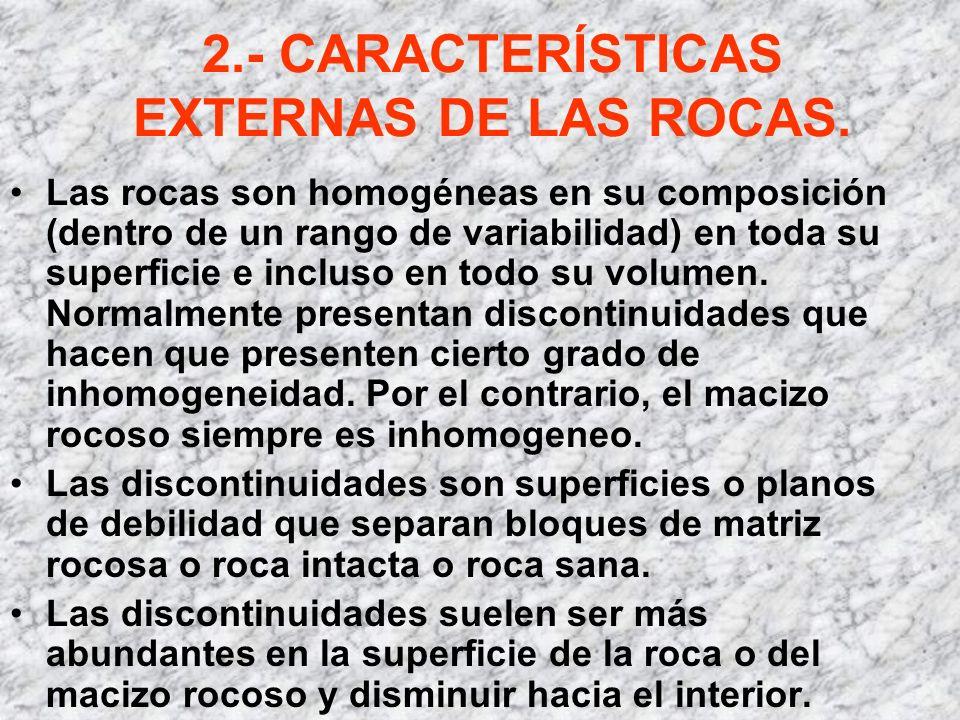 2.- CARACTERÍSTICAS EXTERNAS DE LAS ROCAS. Las rocas son homogéneas en su composición (dentro de un rango de variabilidad) en toda su superficie e inc