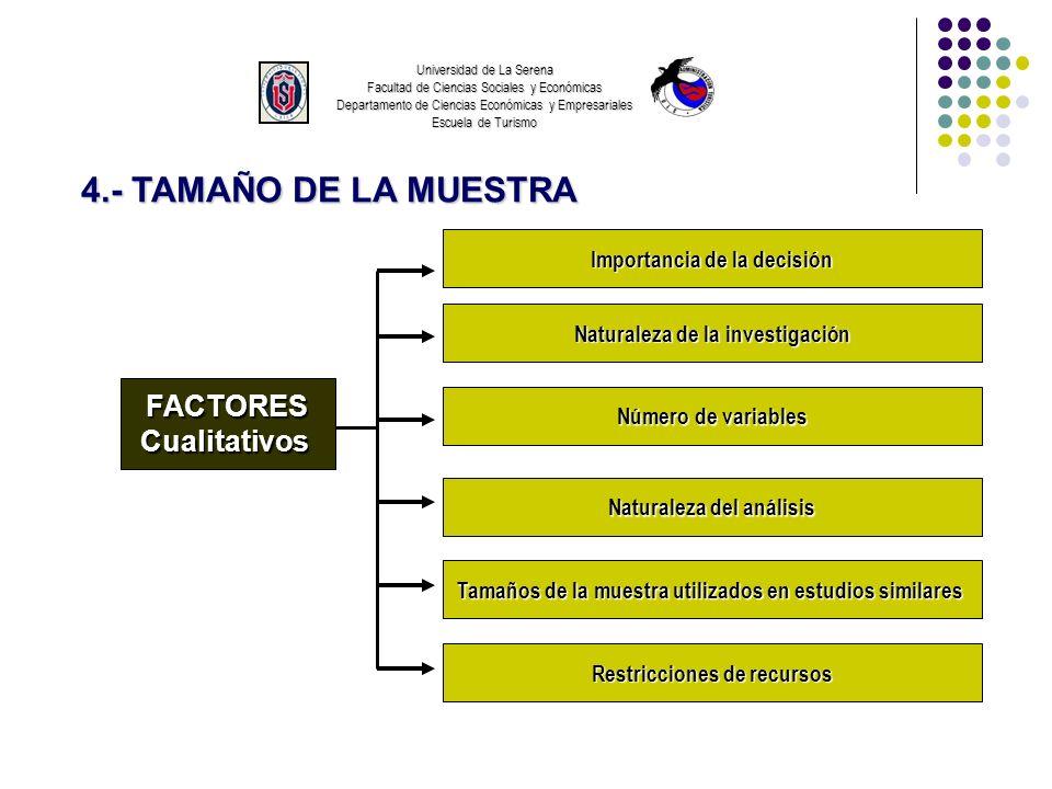 Universidad de La Serena Facultad de Ciencias Sociales y Económicas Departamento de Ciencias Económicas y Empresariales Escuela de Turismo 4.- TAMAÑO