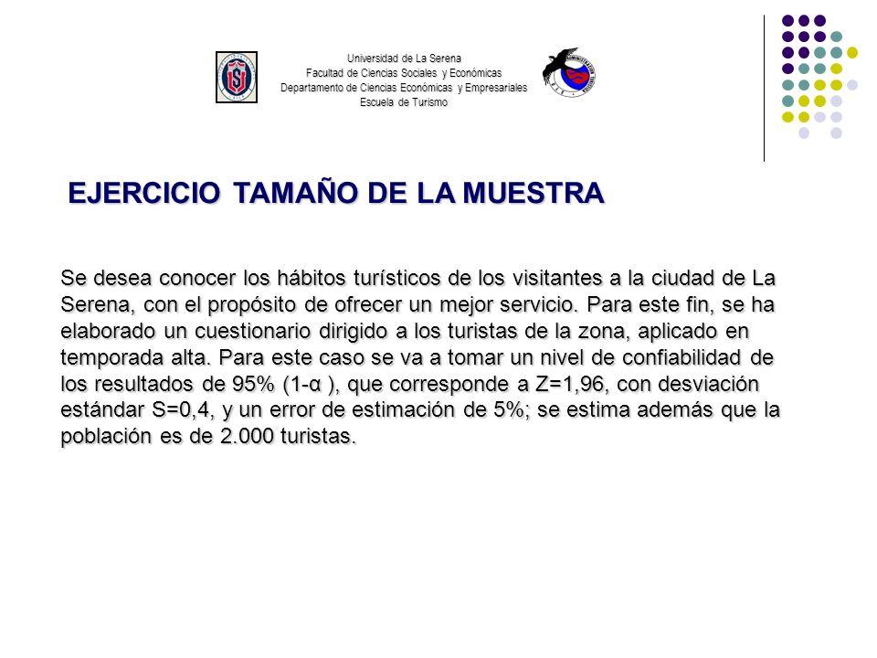 Universidad de La Serena Facultad de Ciencias Sociales y Económicas Departamento de Ciencias Económicas y Empresariales Escuela de Turismo EJERCICIO T
