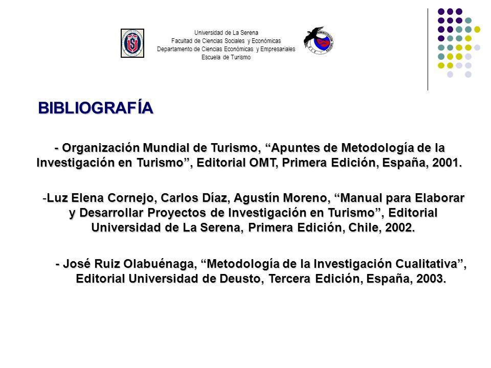 Universidad de La Serena Facultad de Ciencias Sociales y Económicas Departamento de Ciencias Económicas y Empresariales Escuela de Turismo BIBLIOGRAFÍ