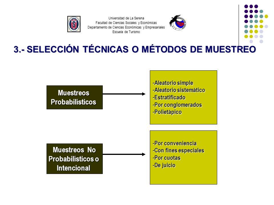 Universidad de La Serena Facultad de Ciencias Sociales y Económicas Departamento de Ciencias Económicas y Empresariales Escuela de Turismo 3.- SELECCIÓN TÉCNICAS O MÉTODOS DE MUESTREO MUESTREO PROBABILÍSTICO Aleatorio Simple AleatorioSistemático Estratificado Determina el tamaño de la muestra, y selecciona los elementos aleatoriamente, a fin de que todos los elementos tengan la misma probabilidad de ser seleccionados.