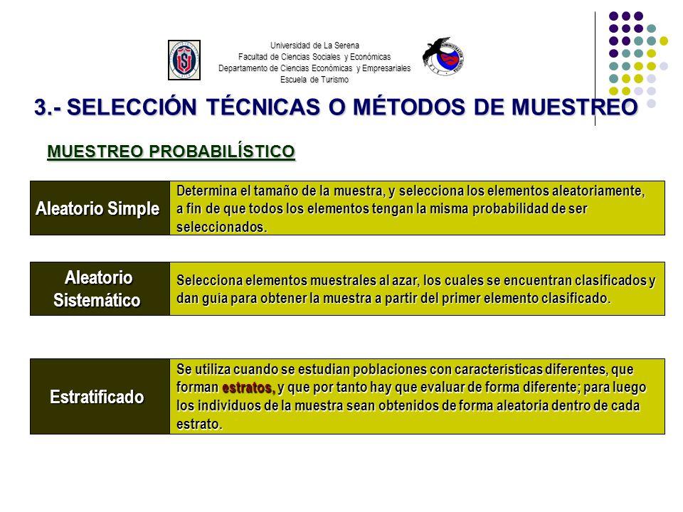 Universidad de La Serena Facultad de Ciencias Sociales y Económicas Departamento de Ciencias Económicas y Empresariales Escuela de Turismo 3.- SELECCI