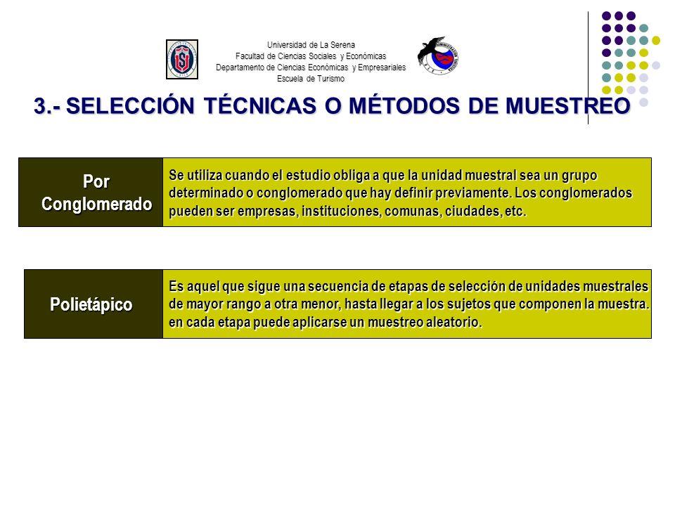 PorConglomerado Polietápico Universidad de La Serena Facultad de Ciencias Sociales y Económicas Departamento de Ciencias Económicas y Empresariales Es