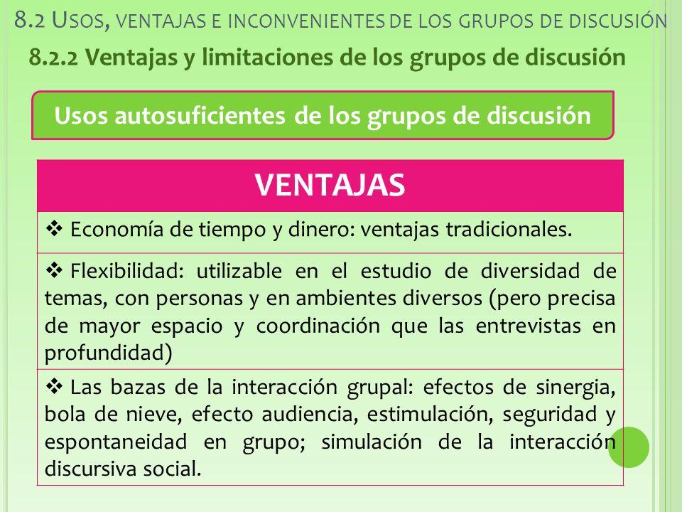 8.2 U SOS, VENTAJAS E INCONVENIENTES DE LOS GRUPOS DE DISCUSIÓN 8.2.2 Ventajas y limitaciones de los grupos de discusión Usos autosuficientes de los grupos de discusión VENTAJAS Economía de tiempo y dinero: ventajas tradicionales.