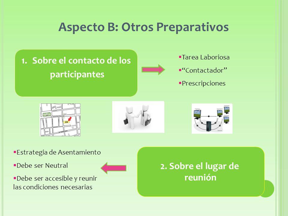 Aspecto B: Otros Preparativos 1.Sobre el contacto de los participantes 2.