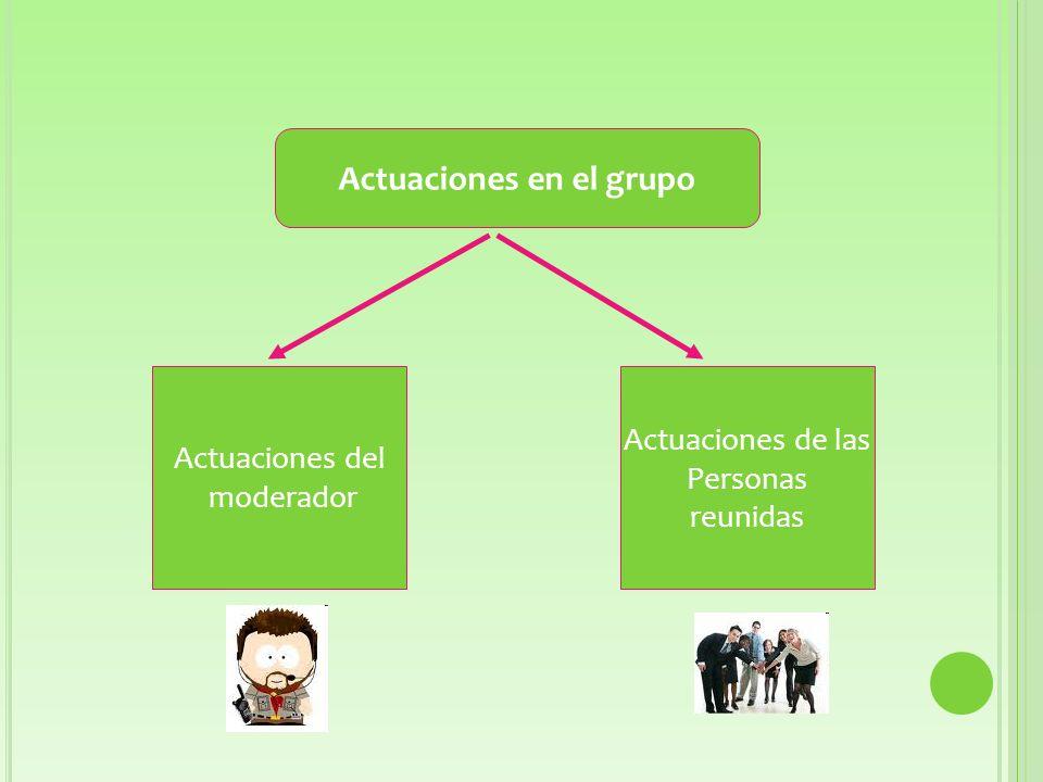 Actuaciones en el grupo Actuaciones del moderador Actuaciones de las Personas reunidas