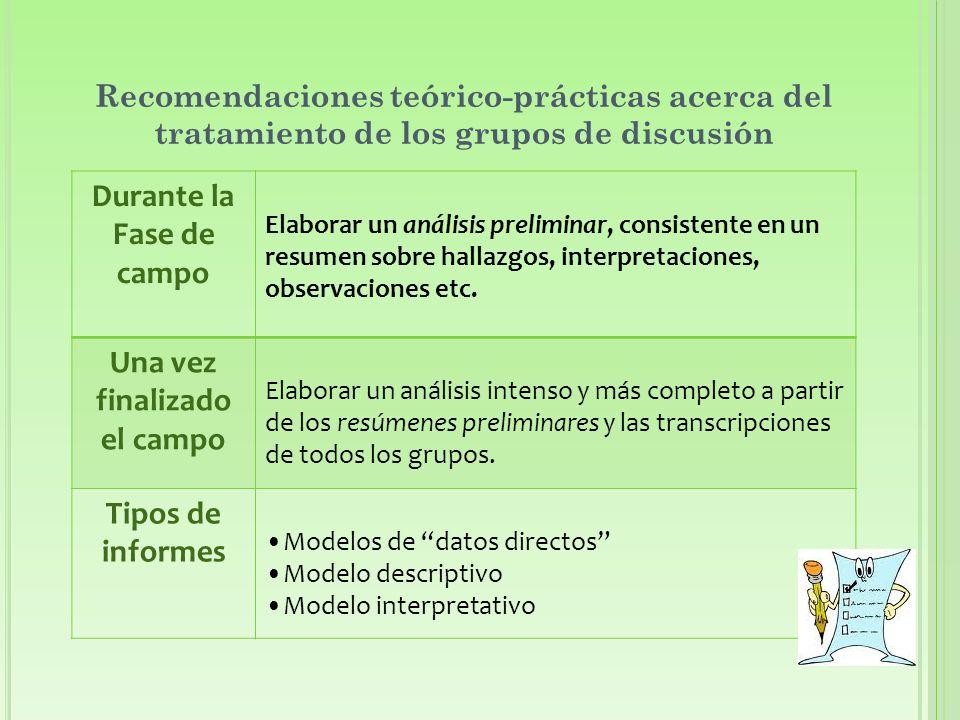 Recomendaciones teórico-prácticas acerca del tratamiento de los grupos de discusión Durante la Fase de campo Elaborar un análisis preliminar, consistente en un resumen sobre hallazgos, interpretaciones, observaciones etc.