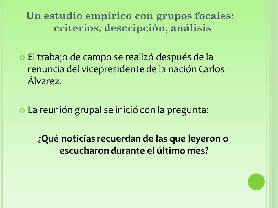 Un estudio empírico con grupos focales: criterios, descripción, análisis El trabajo de campo se realizó después de la renuncia del vicepresidente de la nación Carlos Álvarez.