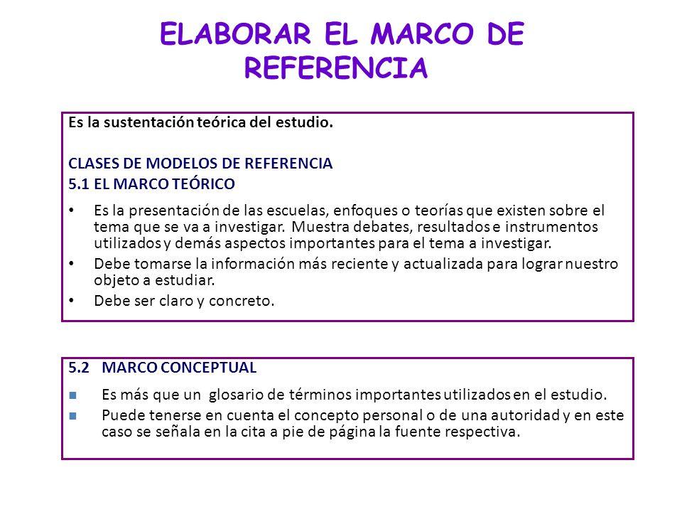 ELABORAR EL MARCO DE REFERENCIA Es la sustentación teórica del estudio. CLASES DE MODELOS DE REFERENCIA 5.1EL MARCO TEÓRICO Es la presentación de las