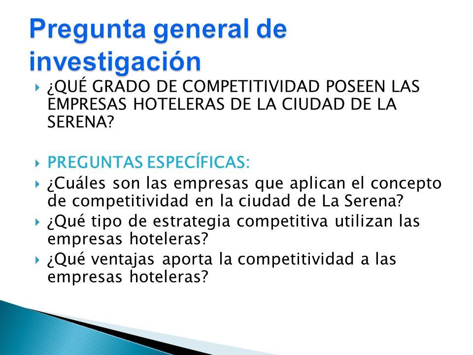 ¿QUÉ GRADO DE COMPETITIVIDAD POSEEN LAS EMPRESAS HOTELERAS DE LA CIUDAD DE LA SERENA? PREGUNTAS ESPECÍFICAS: ¿Cuáles son las empresas que aplican el c