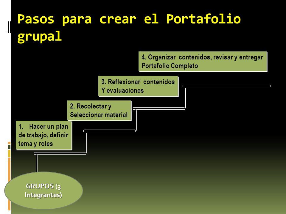 Pasos para crear el Portafolio grupal 1.Hacer un plan de trabajo, definir tema y roles 1.Hacer un plan de trabajo, definir tema y roles 2. Recolectar