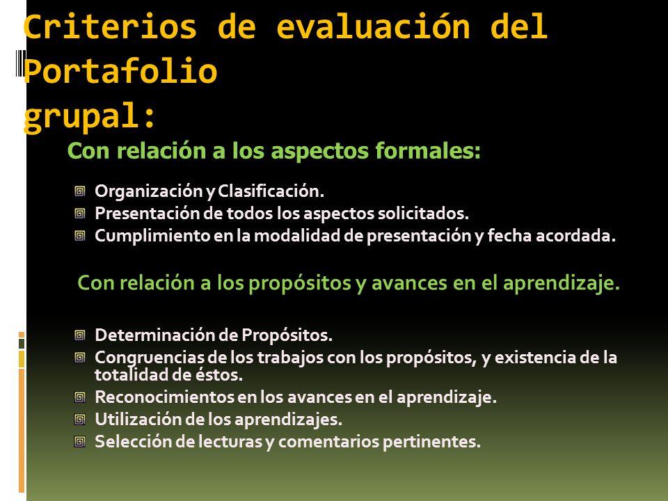 Criterios de evaluación del Portafolio grupal: Organización y Clasificación. Presentación de todos los aspectos solicitados. Cumplimiento en la modali