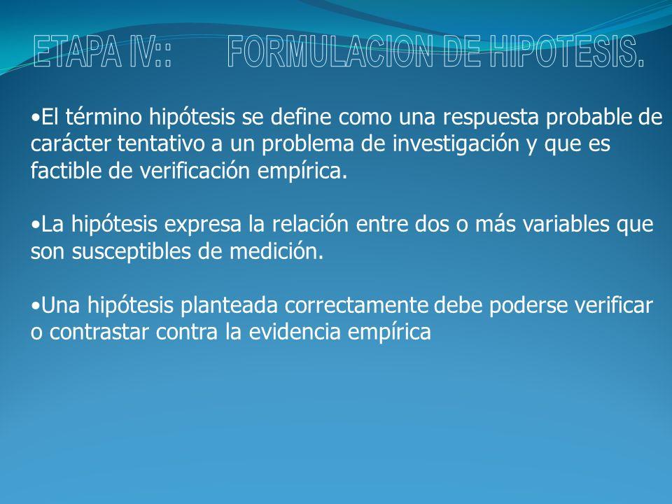 El término hipótesis se define como una respuesta probable de carácter tentativo a un problema de investigación y que es factible de verificación empí