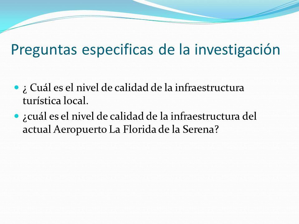 Preguntas especificas de la investigación ¿ Cuál es el nivel de calidad de la infraestructura turística local. ¿cuál es el nivel de calidad de la infr