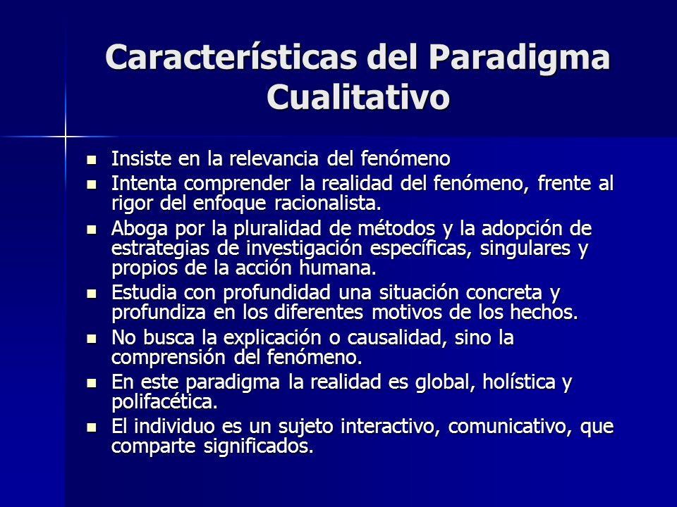 Características del Paradigma Cualitativo Insiste en la relevancia del fenómeno Insiste en la relevancia del fenómeno Intenta comprender la realidad d