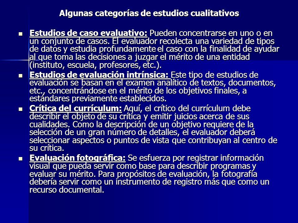 Algunas categorías de estudios cualitativos Estudios de caso evaluativo: Pueden concentrarse en uno o en un conjunto de casos. El evaluador recolecta