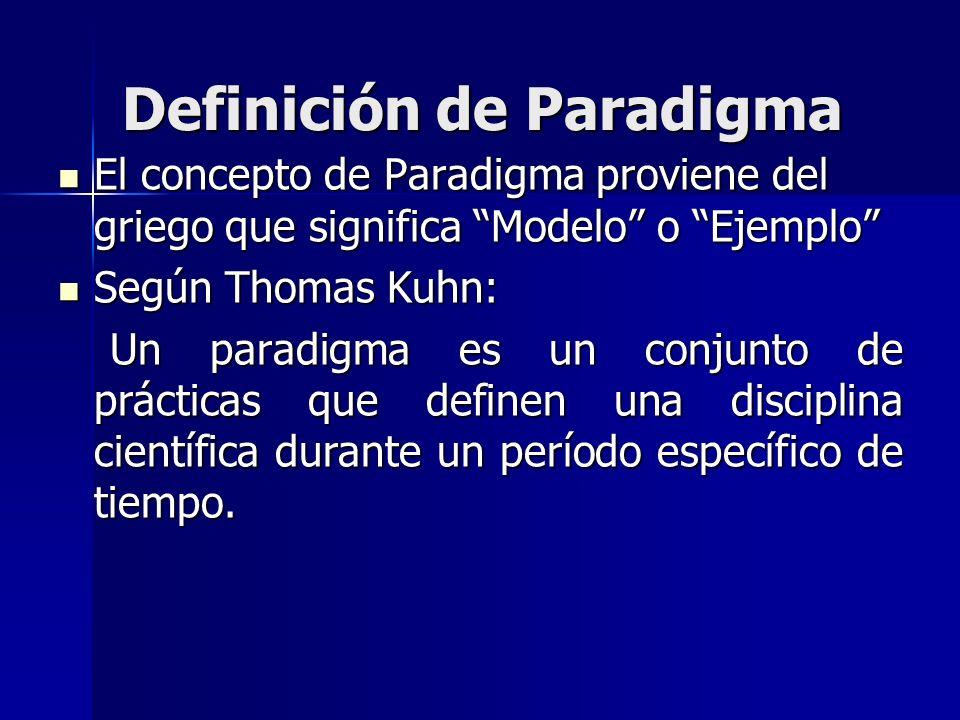 Definición de Paradigma El concepto de Paradigma proviene del griego que significa Modelo o Ejemplo El concepto de Paradigma proviene del griego que s