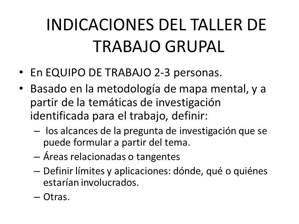 En EQUIPO DE TRABAJO 2-3 personas. Basado en la metodología de mapa mental, y a partir de la temáticas de investigación identificada para el trabajo,
