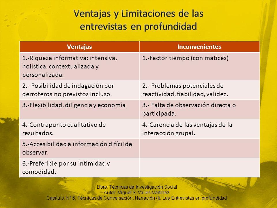 VentajasInconvenientes 1.-Riqueza informativa: intensiva, holística, contextualizada y personalizada. 1.-Factor tiempo (con matices) 2.- Posibilidad d