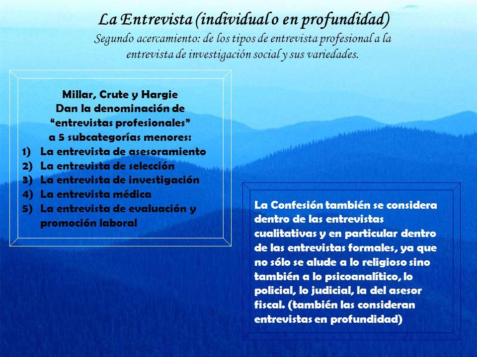 La Entrevista (individual o en profundidad) Segundo acercamiento: de los tipos de entrevista profesional a la entrevista de investigación social y sus