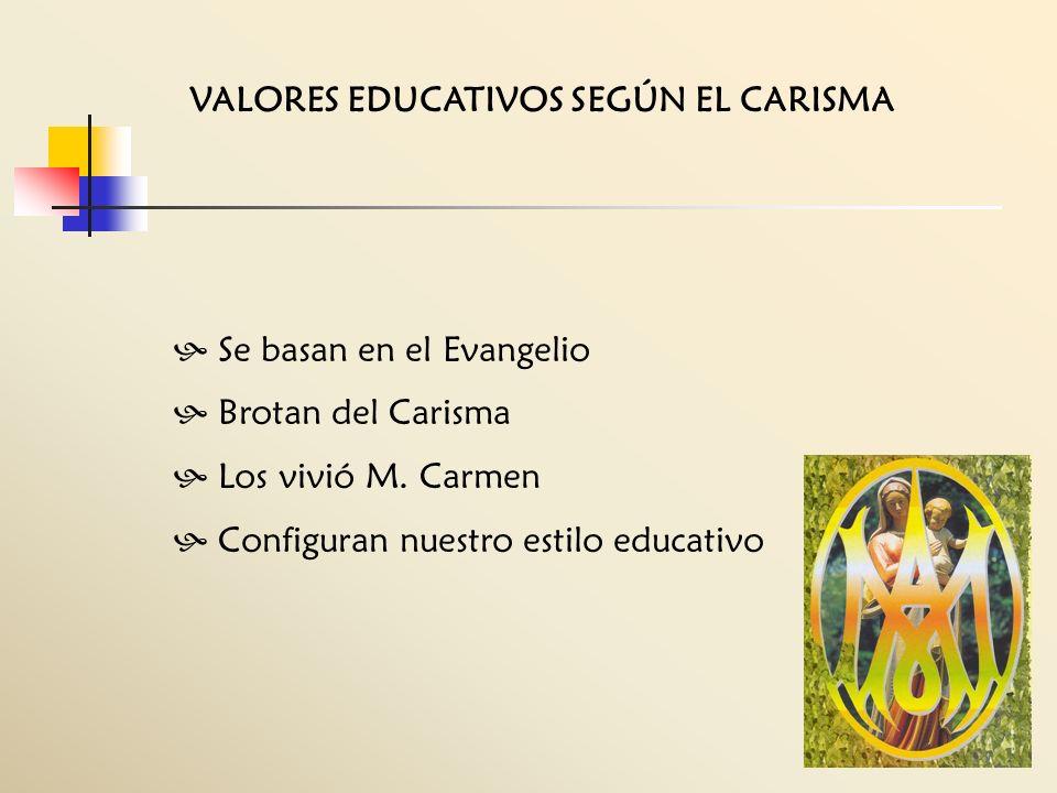 VALORES EDUCATIVOS SEGÚN EL CARISMA Se basan en el Evangelio Brotan del Carisma Los vivió M. Carmen Configuran nuestro estilo educativo