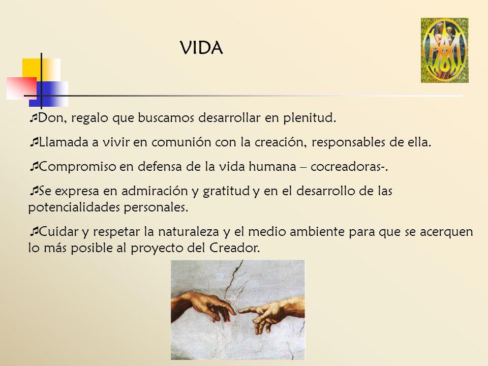 VIDA Don, regalo que buscamos desarrollar en plenitud. Llamada a vivir en comunión con la creación, responsables de ella. Compromiso en defensa de la