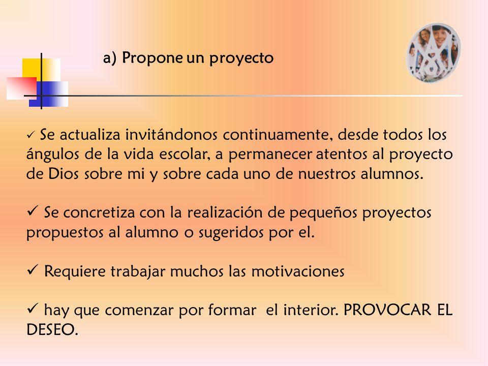 a) Propone un proyecto Se actualiza invitándonos continuamente, desde todos los ángulos de la vida escolar, a permanecer atentos al proyecto de Dios s