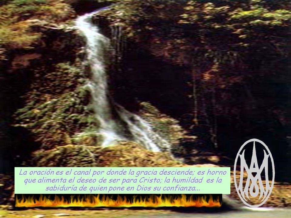 La oración es el canal por donde la gracia desciende; es horno que alimenta el deseo de ser para Cristo; la humildad es la sabiduría de quien pone en Dios su confianza...