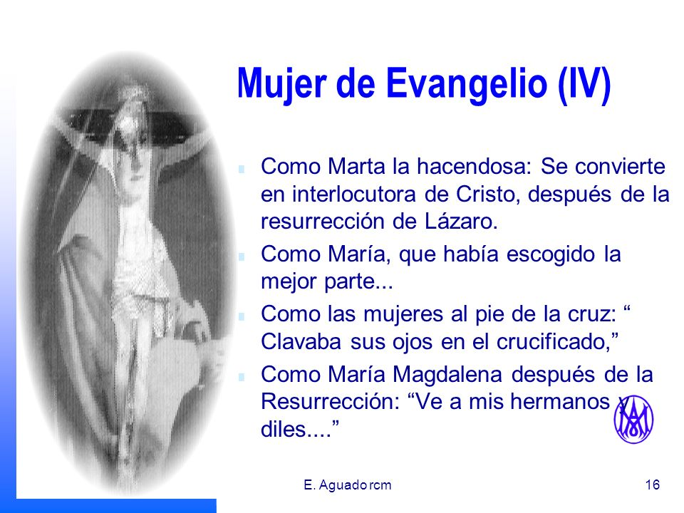 31/01/2014E. Aguado rcm15 Mujer de Evangelio (III) Como las mujeres que seguian a Jesús, hacia el Calvario, clavaba sus ojos en el crucificado. La Sam