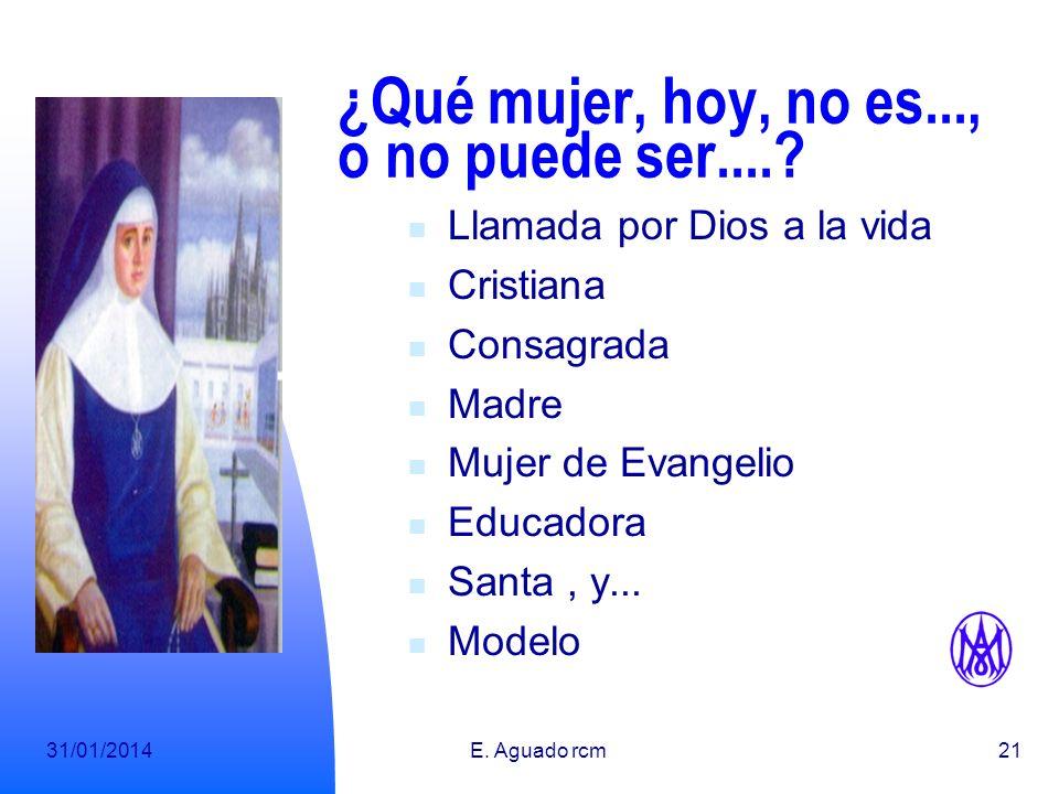 31/01/2014E. Aguado rcm20 Mujer Modelo Nos la propone la Iglesia. Por sus virtudes Por su respuesta Por su relación con el Dios que nos creara. Por su