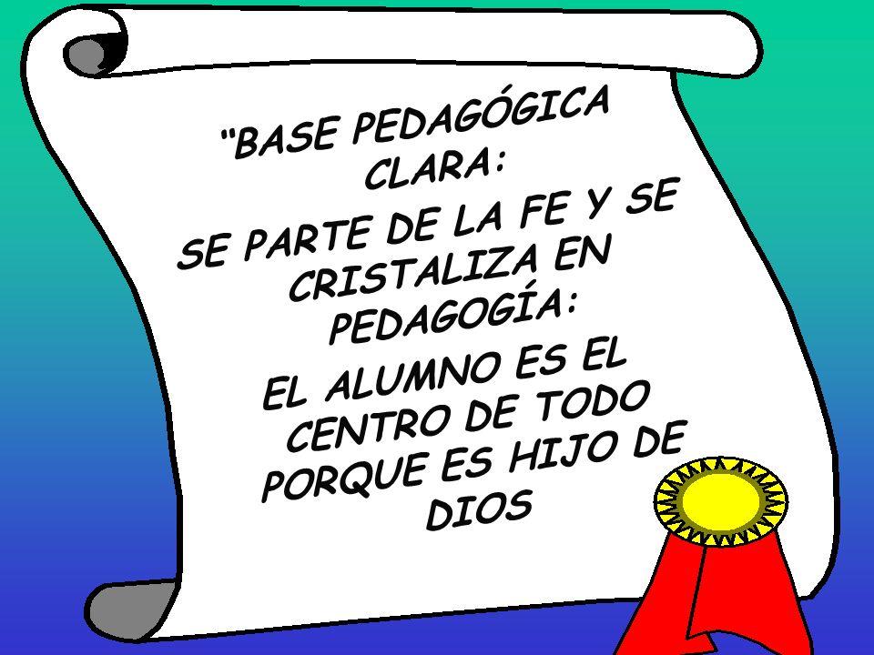 BASE PEDAGÓGICA CLARA: SE PARTE DE LA FE Y SE CRISTALIZA EN PEDAGOGÍA: EL ALUMNO ES EL CENTRO DE TODO PORQUE ES HIJO DE DIOS