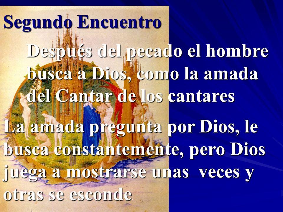 Segundo Encuentro Después del pecado el hombre busca a Dios, como la amada del Cantar de los cantares La amada pregunta por Dios, le busca constanteme