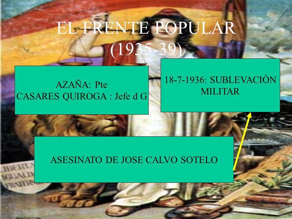 EL FRENTE POPULAR (1935-39) AZAÑA: Pte CASARES QUIROGA : Jefe d G ASESINATO DE JOSE CALVO SOTELO 18-7-1936: SUBLEVACIÓN MILITAR