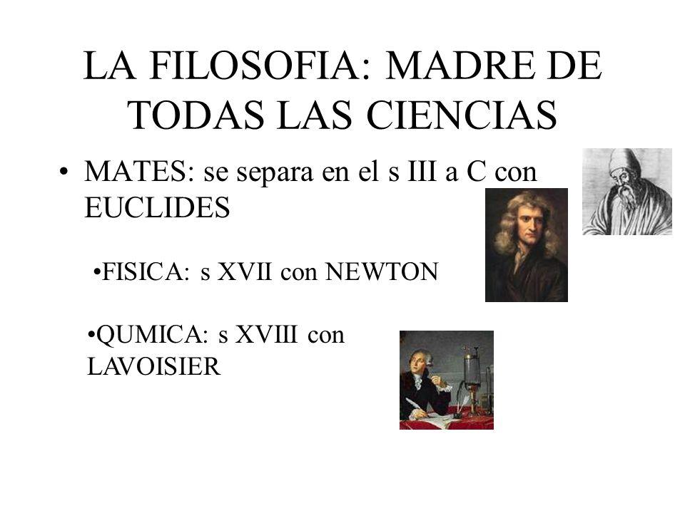 LA FILOSOFIA: MADRE DE TODAS LAS CIENCIAS MATES: se separa en el s III a C con EUCLIDES FISICA: s XVII con NEWTON QUMICA: s XVIII con LAVOISIER