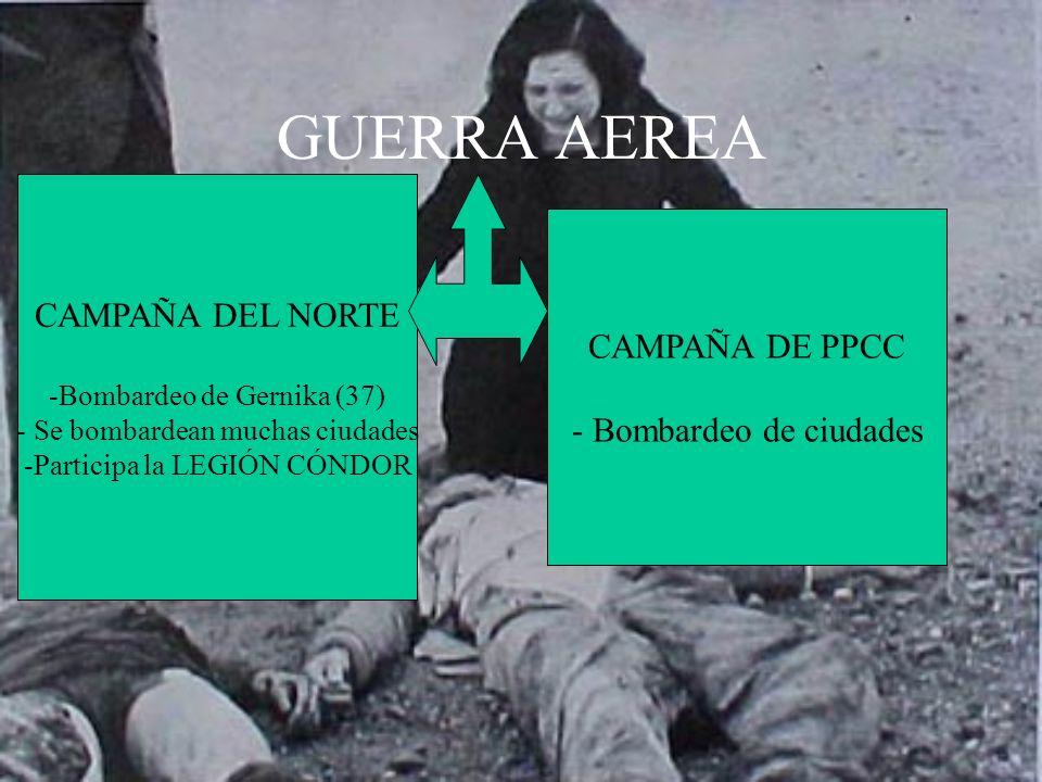 GUERRA AEREA CAMPAÑA DEL NORTE -Bombardeo de Gernika (37) - Se bombardean muchas ciudades -Participa la LEGIÓN CÓNDOR CAMPAÑA DE PPCC - Bombardeo de c