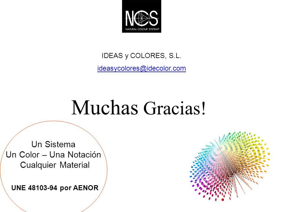 Muchas Gracias! Un Sistema Un Color – Una Notación Cualquier Material UNE 48103-94 por AENOR IDEAS y COLORES, S.L. ideasycolores@idecolor.com
