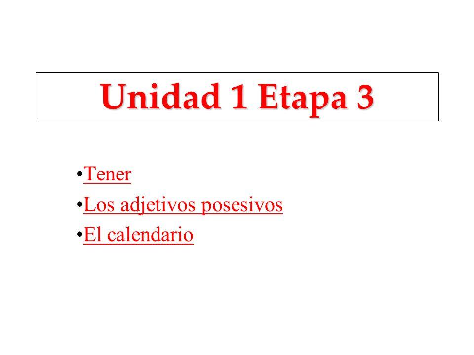 Unidad 1 Etapa 3 Tener Los adjetivos posesivos El calendario