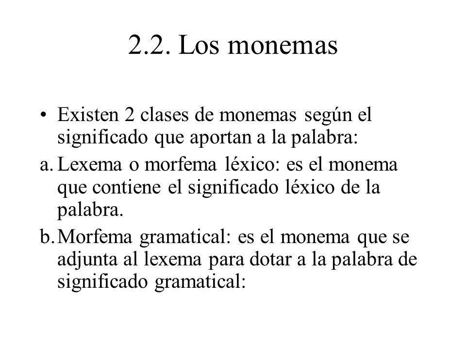 2.2. Los monemas Existen 2 clases de monemas según el significado que aportan a la palabra: a.Lexema o morfema léxico: es el monema que contiene el si