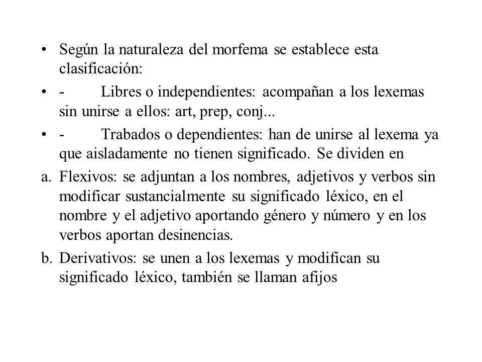 Según la naturaleza del morfema se establece esta clasificación: - Libres o independientes: acompañan a los lexemas sin unirse a ellos: art, prep, con